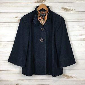Wide 3/4 sleeve lined jean jacket